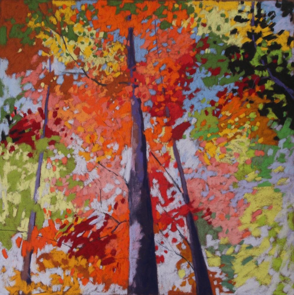 "Title: Forest Medley Medium: pastel Size: 19"" x 19"""
