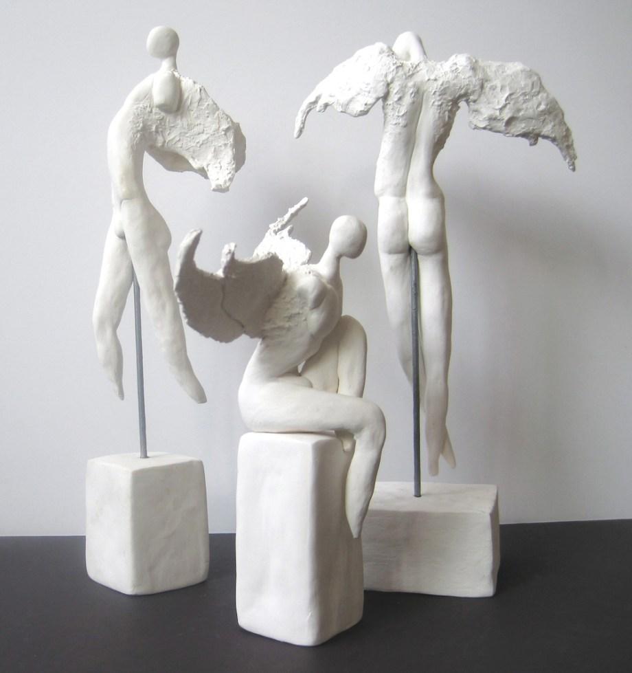 "Title:Gabriel,Uriel,Michael Medium: clay Size:h.12"",8"",12""w.5"",8"",7"""