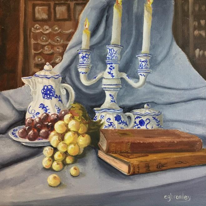 Title:Blue Still Life Medium:Oil Size:12x12