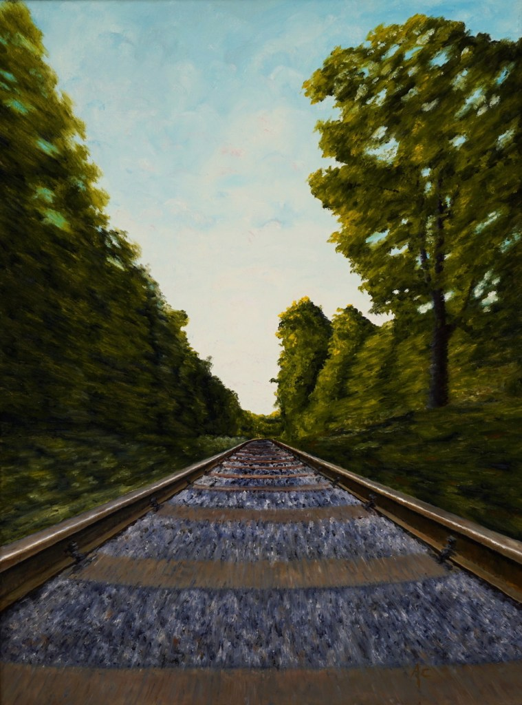 Title:World going by Medium:	Oil Size:	18 x 24