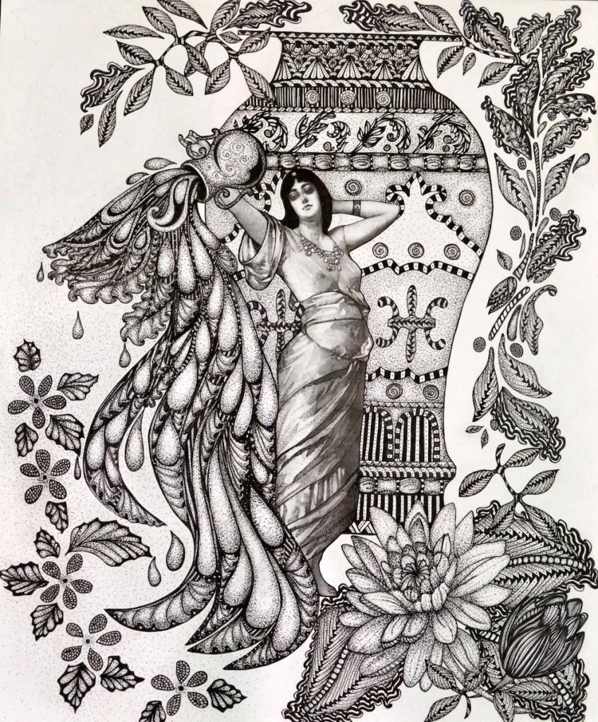 "Title:Aqyarius Medium:Pen and Ink Size:14""x17"""