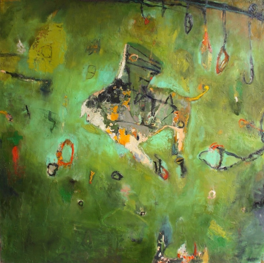 "Title:Neurotic Excoriations Medium:oil paint on linen Size:76"" x 76"""
