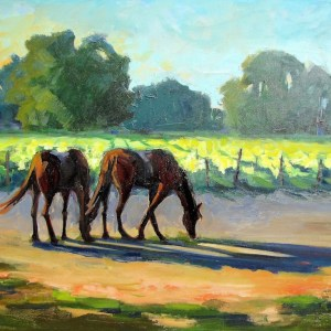 Title: Horses in Vineyard Medium: Oil on canvas Size: 30 x 40 inches