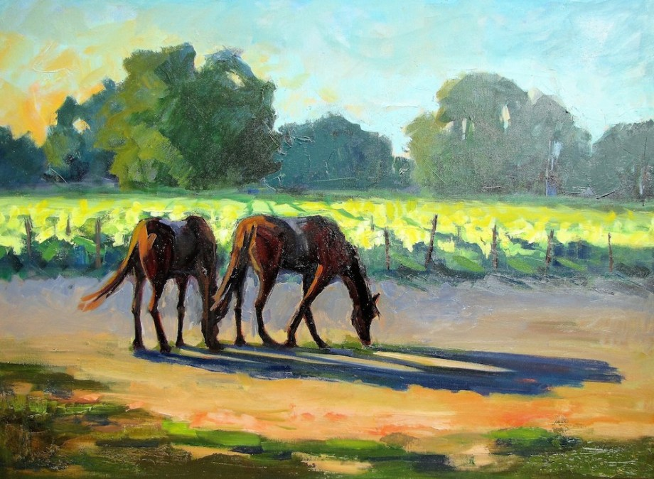 Title:Horses in Vineyard Medium: Oil on canvas Size: 30 x 40 inches