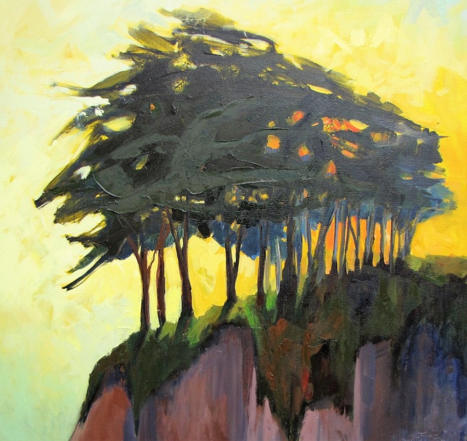 Title:Cypress in the Sun Medium: Oil on canvas Size: 36 x 36 inches