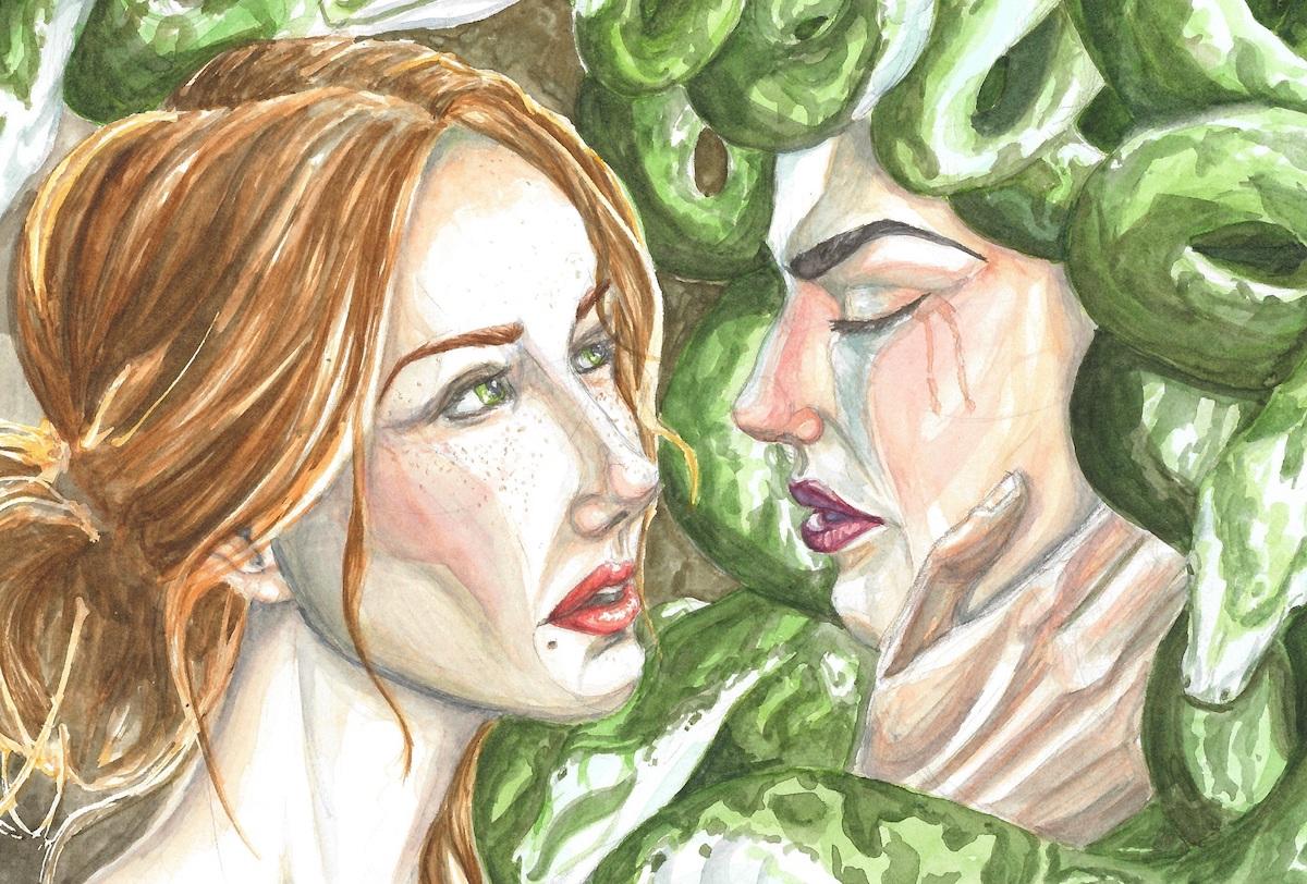 Title: Medusa's Deliverance Medium: Watercolor Size: 2000 x 1353 px