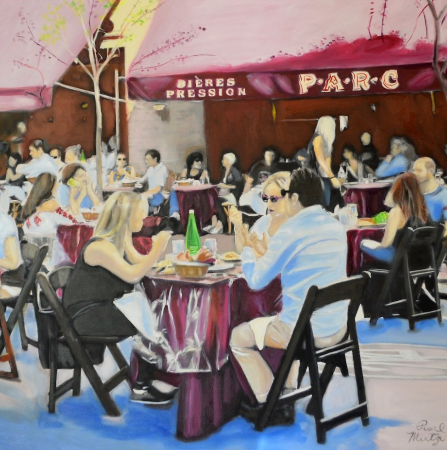"Title:""Feasting French Style In Philly"" Medium:	oil Size:	38x38"""