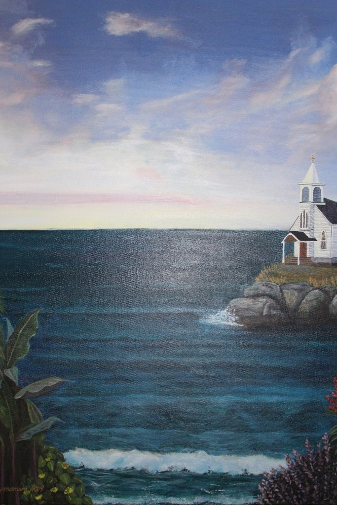 "Title:Maine Retreat Medium:	Acrylic Size:	20"" X 16"""
