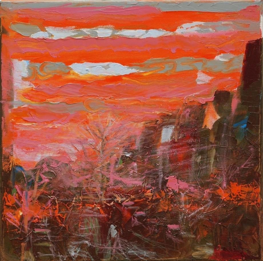 Title:Sunrise on Oker Street in Berlin Medium:	Oil Size:	40 x 40 x 2 cm