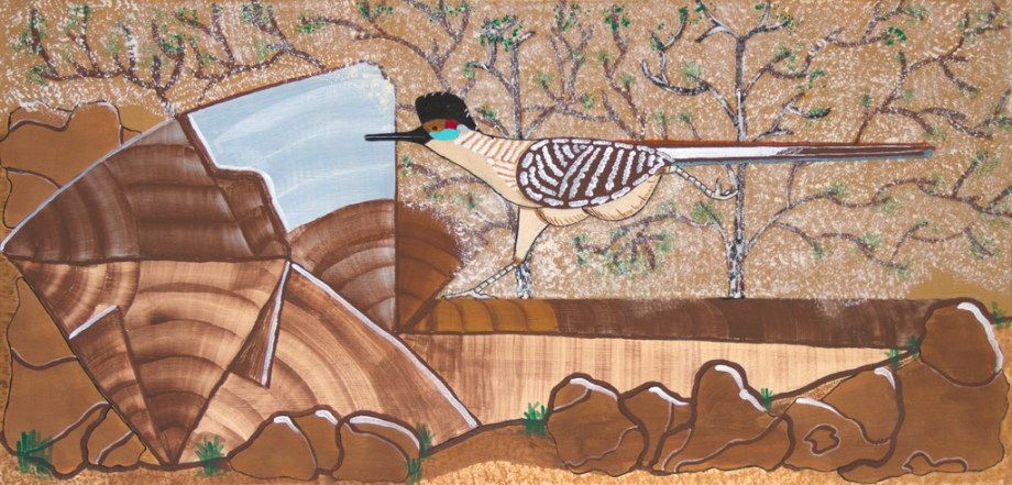Title:Roadrunner on the Fly Medium: Acrylic on plywood Size: 24 x 12