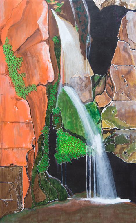 Title:Waterfall Medium: Acrylic on plywood Size: 24 x 36