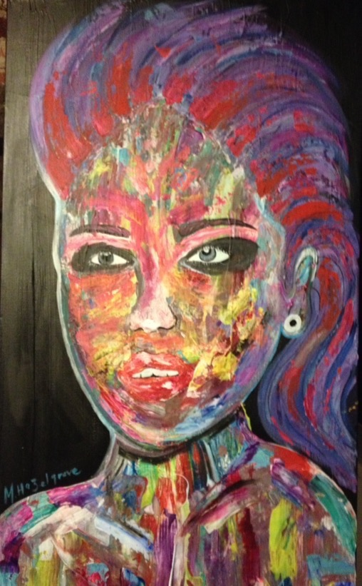"Title:Funky Lady Medium:	Acrylic, palet knife Size:	19.5"" by 40"""