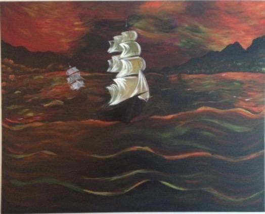 "Title:Sail Away Medium:Acrylic Size:48"" by 36"""