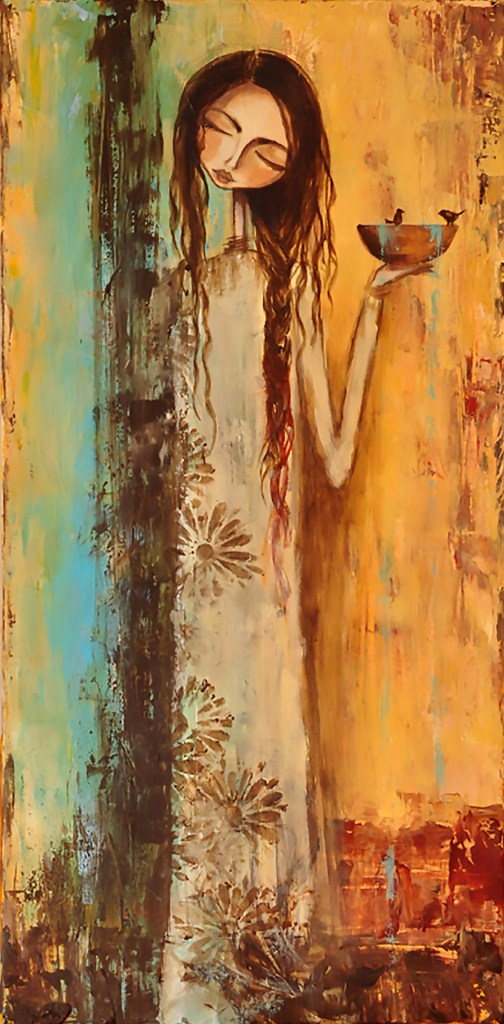 "Title:She Prayed for Rain Medium:Tissue, Acrylic Size:12"" x 24"""