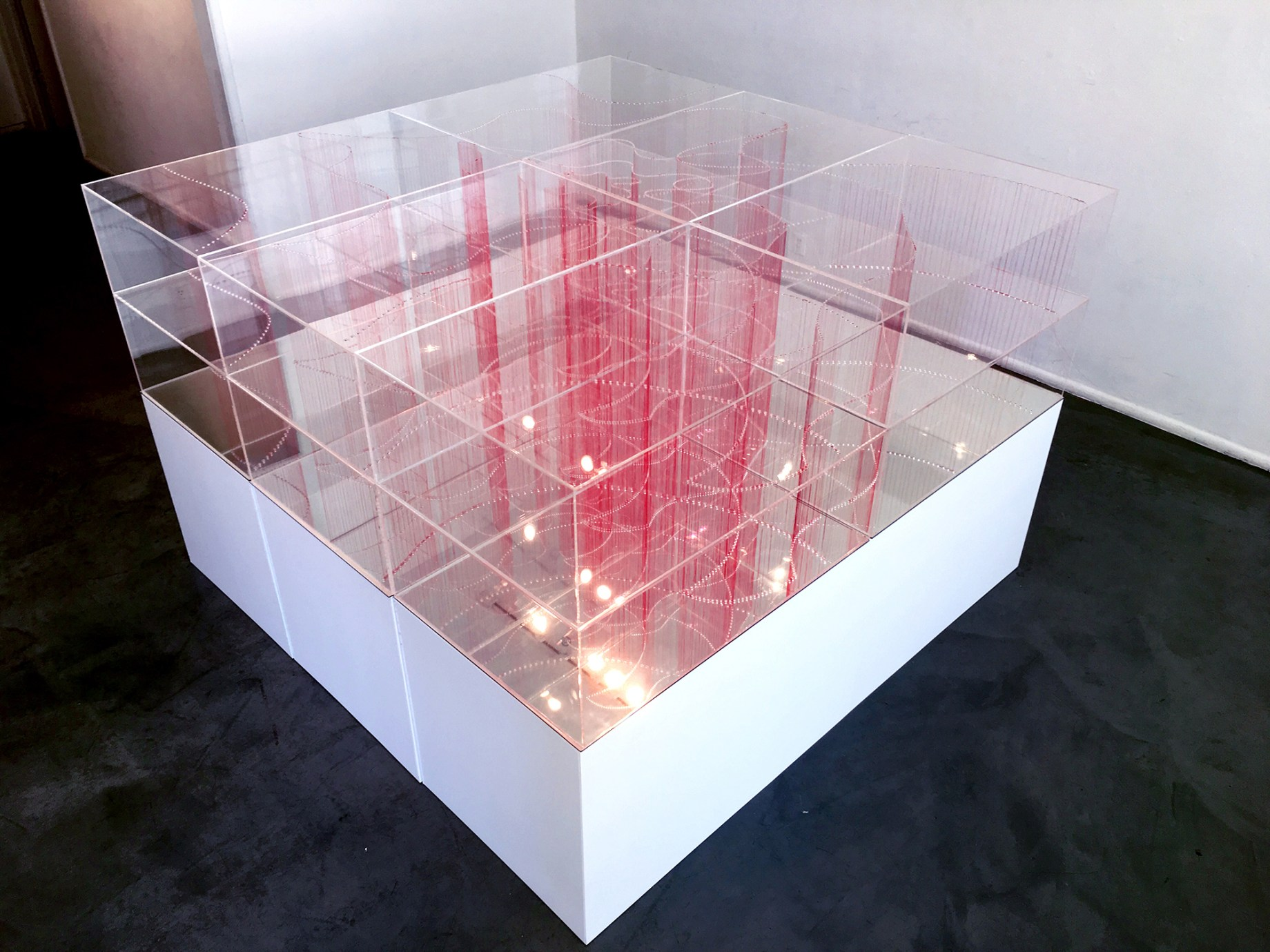 Title: Intersection (Big) Medium: Plexiglass acrylic Sheets and red thread Size: 6ft W x 1ft H 6ft L