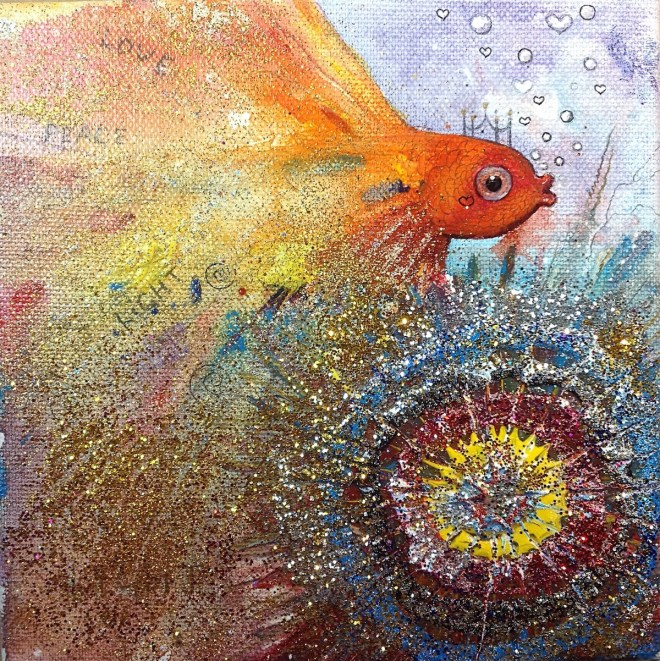 Title:Gold fish Medium:Acrylic,mixed, glitter, Size:6X6