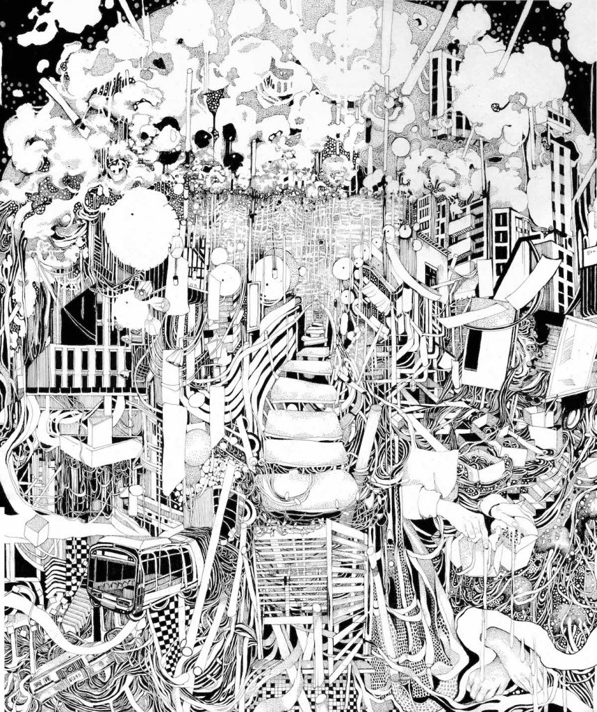 "Title:""Chinatown"" Medium:	Pen and Ink Size:	14 x 17 inches"