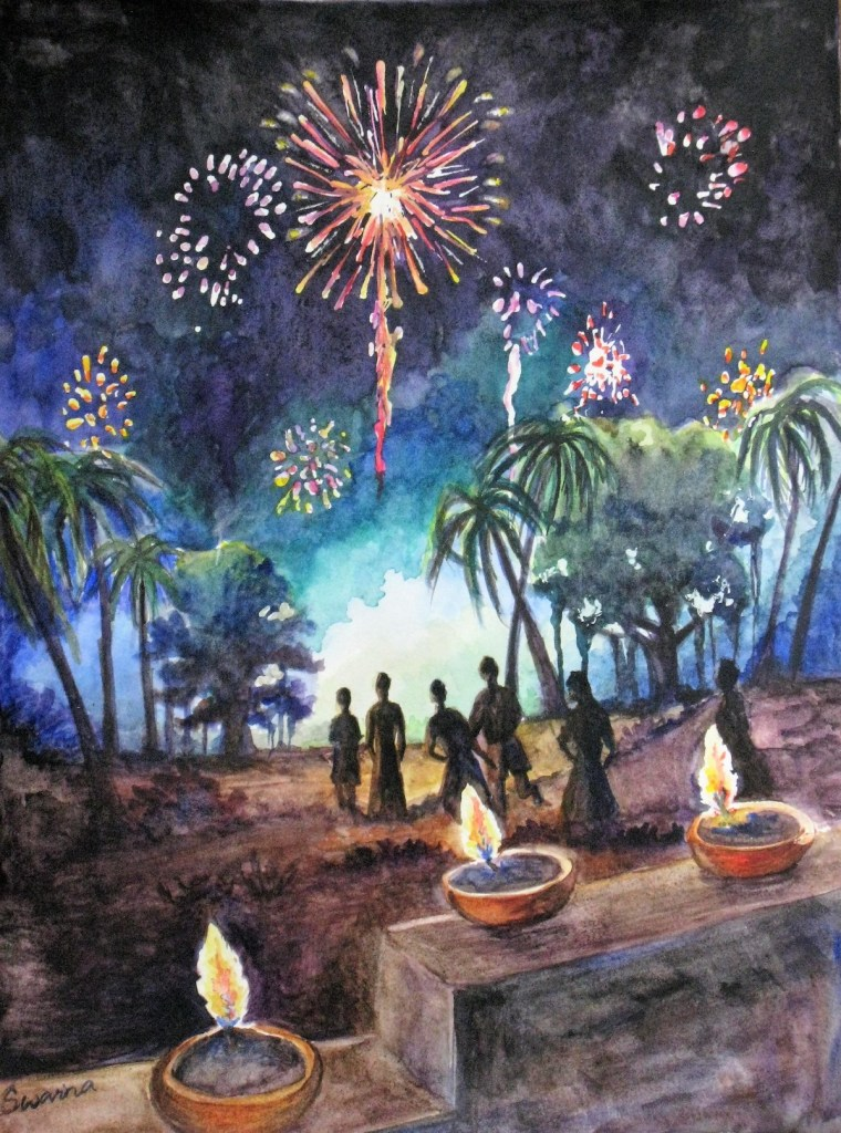 "Title:Delightful Diwali Medium:Watercolors Size:11"" x15"""