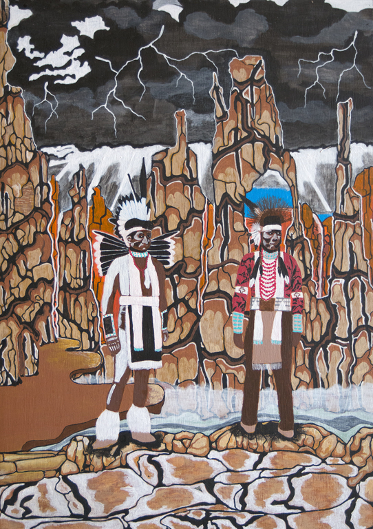 "Title:VIEWING CHIEFS Medium:	Acrylic on plywood Size:	12"" x 18"""