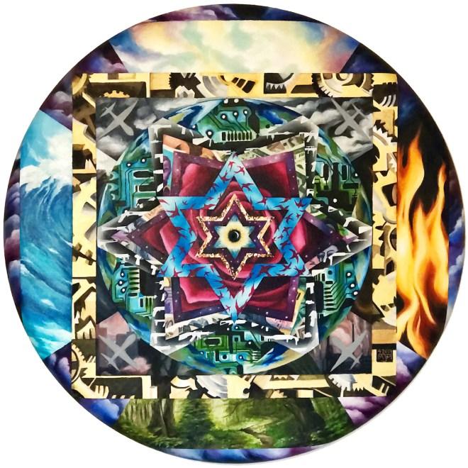 "Title:Harmonic Patterning Within Turbulent Times Medium:Oil Size:36"" circular canvas"