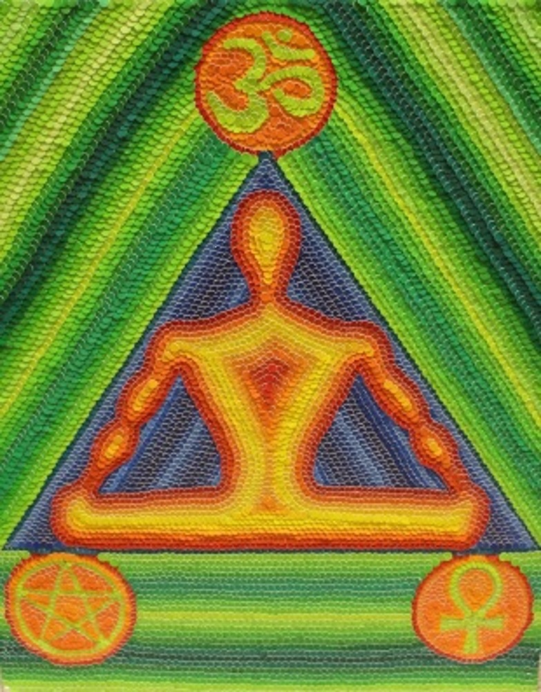 Title:Meditator Medium:Colored Hole Punch Dots Size:18x24 inches