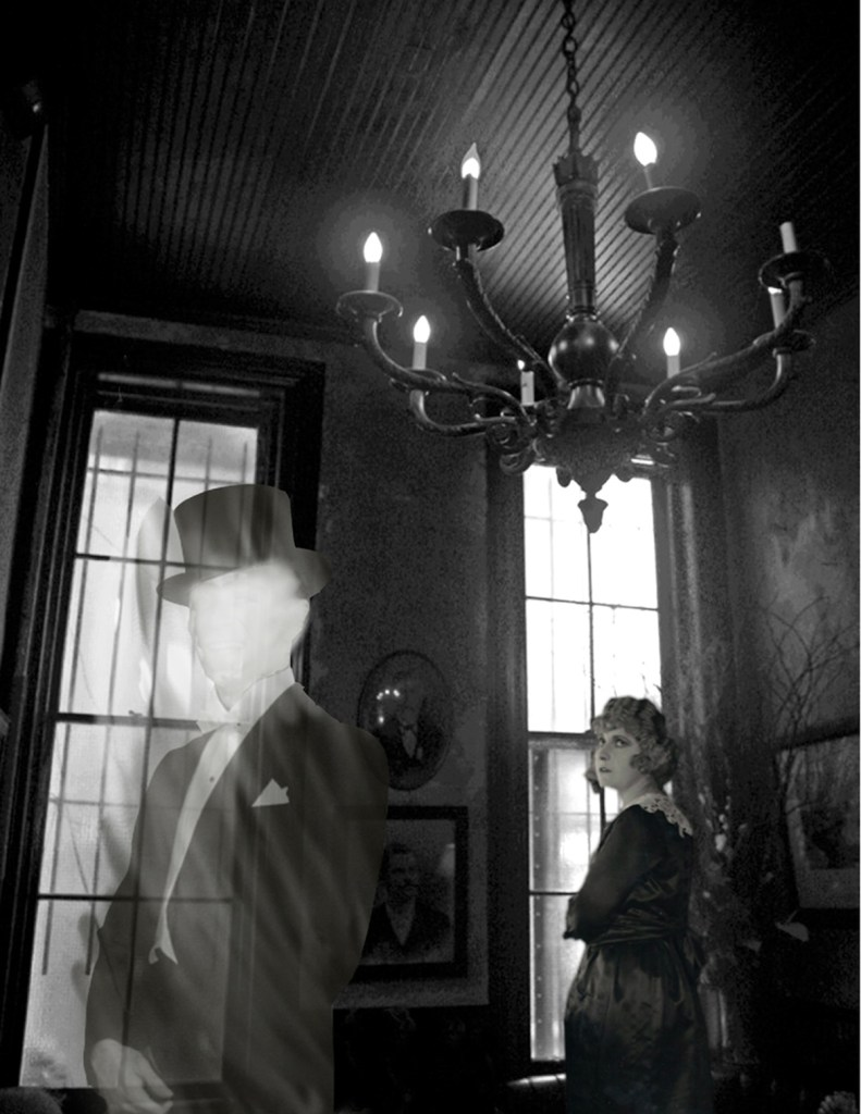 """Title:The Ghost in the Hotel Lobby Medium:Digital Photo Collage Size:10"""" x 8"""""""