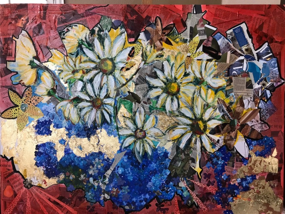 Title Not just Daisies Medium Collage Size 36x48