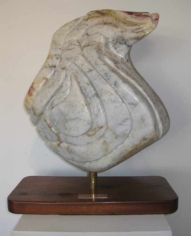 "Title Solitude Medium Alabaster stone with Maghoney wood base Size 16""x 43"" x 81/2"""