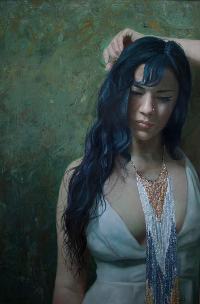 "Title Native Beauty Medium oil on panel Size 26""x17"""