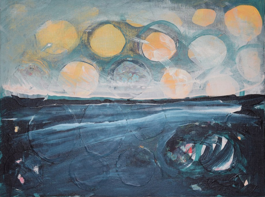 Title Glowing night over a stormy sea Medium Acrylic and paper on canvas Size 16x12
