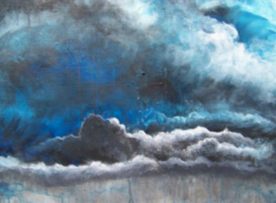 Title Stormy Skies make me feel Blue Medium acrylics Size 18'' x24''