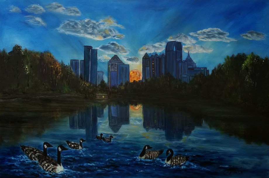 Title Reflections at Piedmont Park Medium Oil Size 24x36