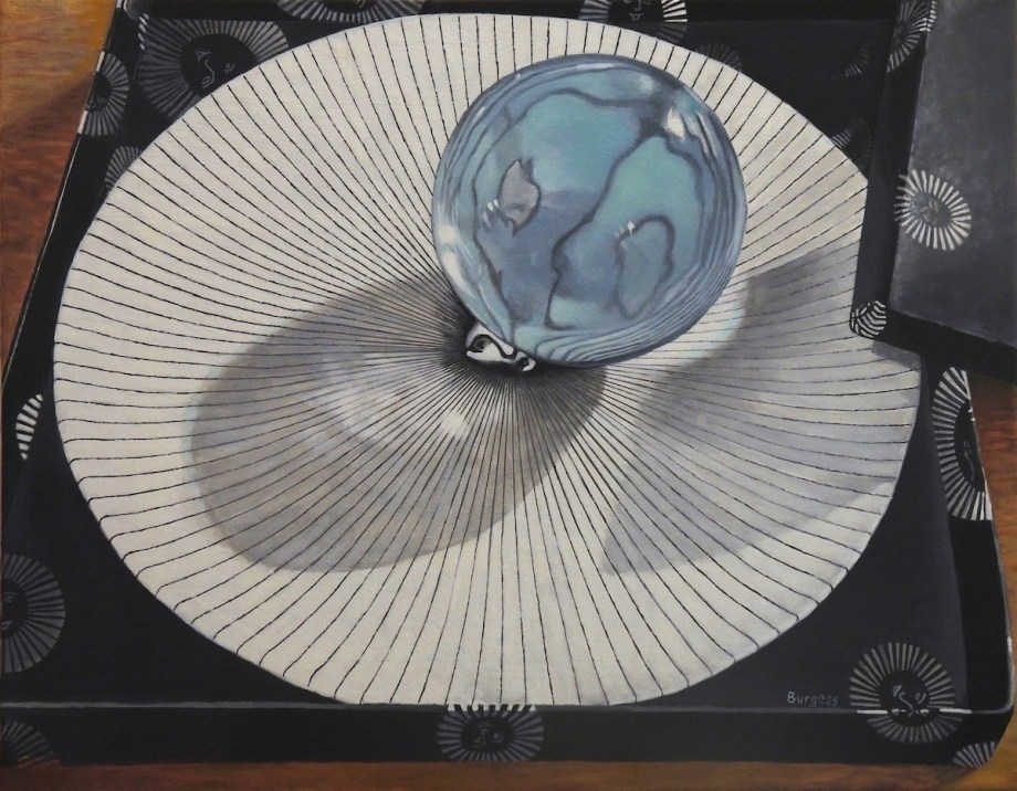 "Title Crystal Ball on a Fornasett Plate Medium Oil Size 20""x26"""