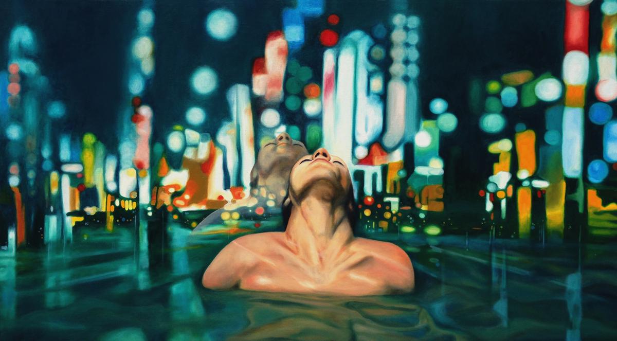 "Title Inner-city Medium Oil on canvas Size 30"" x 54"""