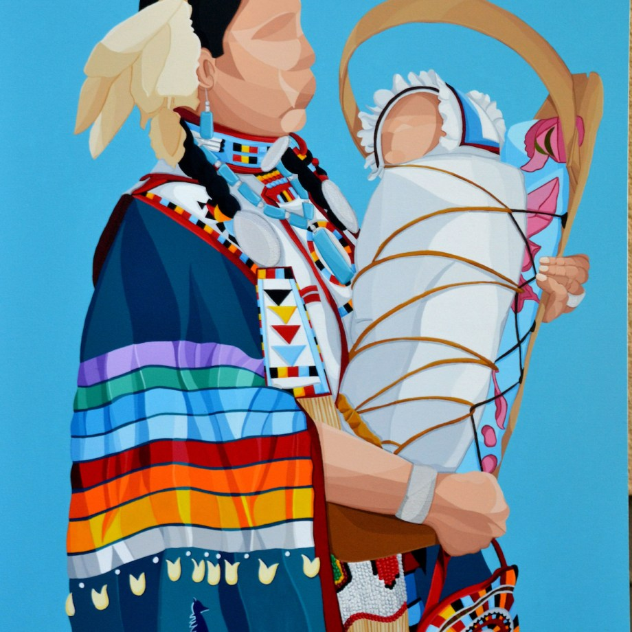Title okâwîmâw (ᐅᑳᐄᐧᒫᐤ mother in Cree) Medium Acrylic Size 30''x40''