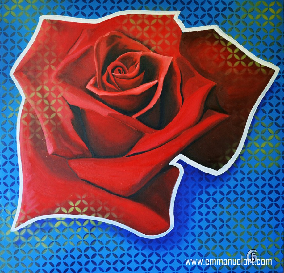 Title PATTERENED ROSE Medium OIL IN CANVAS Size 40 X 40