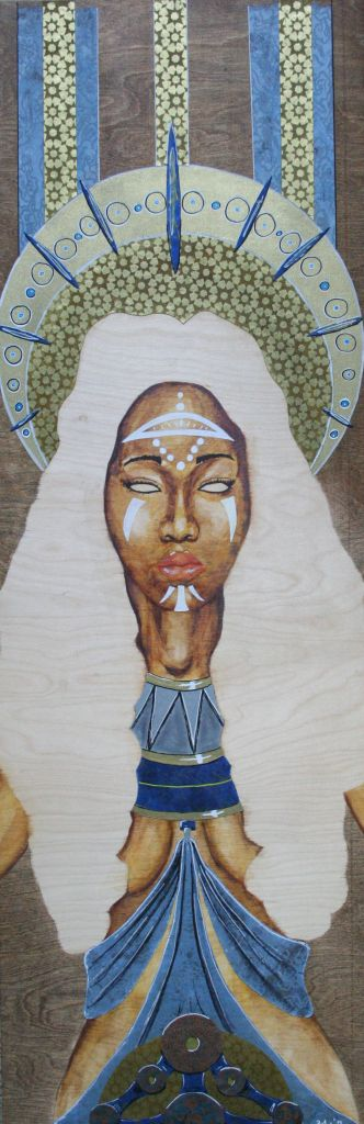 Title Goddess on Throne Medium Watercolor and Decorative Paper on Wood Panel Size 12x36