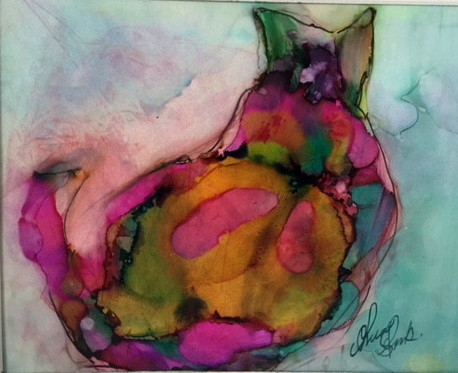 Title Abstract Cat Medium Alcohol Ink Size 12 x 16 matted and framed