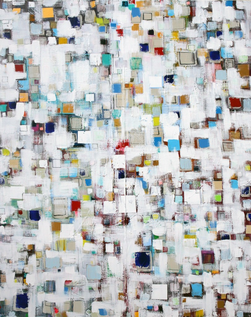 "Title Square Dance Medium oil, acrylic, oil pastel, marker Size 48x 60x 1.5"""