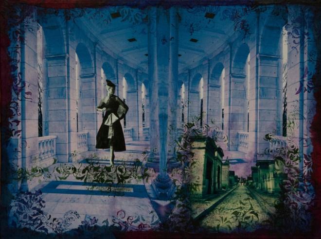 "Title The Green Resort Medium mixed media collage on canvas panel Size 12""x16"", 30cmx40 cm"
