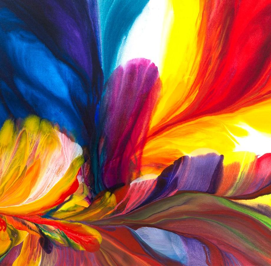 "Title Birds in Paradise Medium Acrylic Size 48"" x 60"""