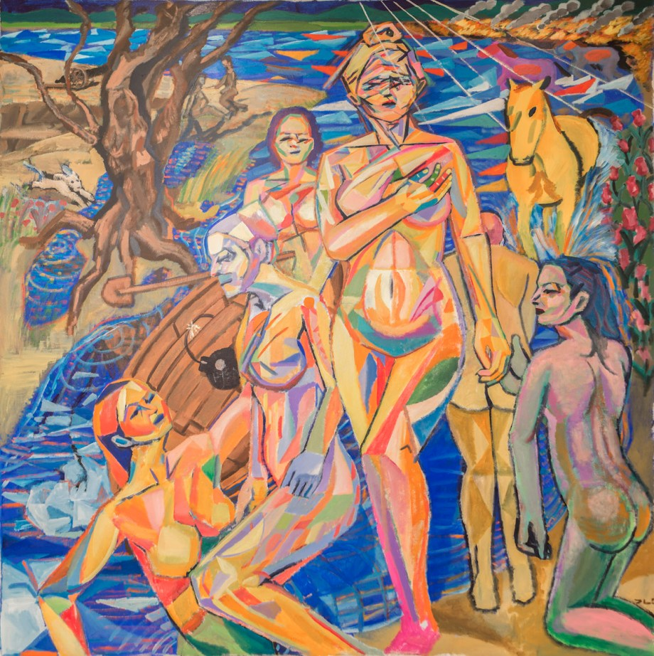 Title The Bathers Medium Acrylic on canvas Size 76 x 76 inches