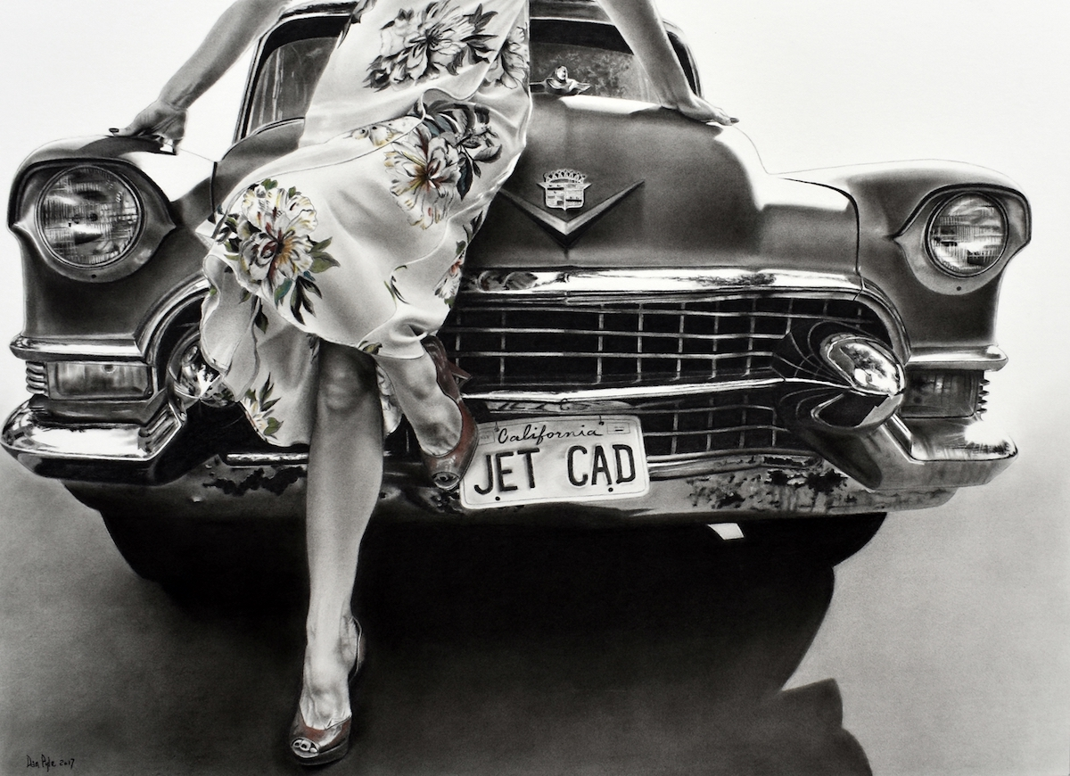 """Title Kristina's Cadillac Medium charcoal with pastel Size 25"""" x 35"""""""