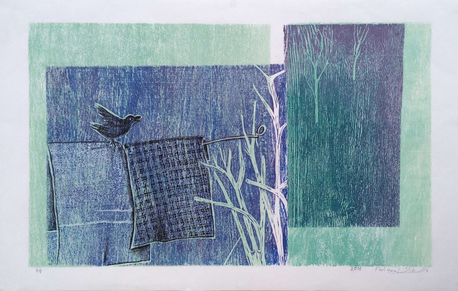 Title Bird on the Clothesline Medium Woodcut Print Size 50*30 cm