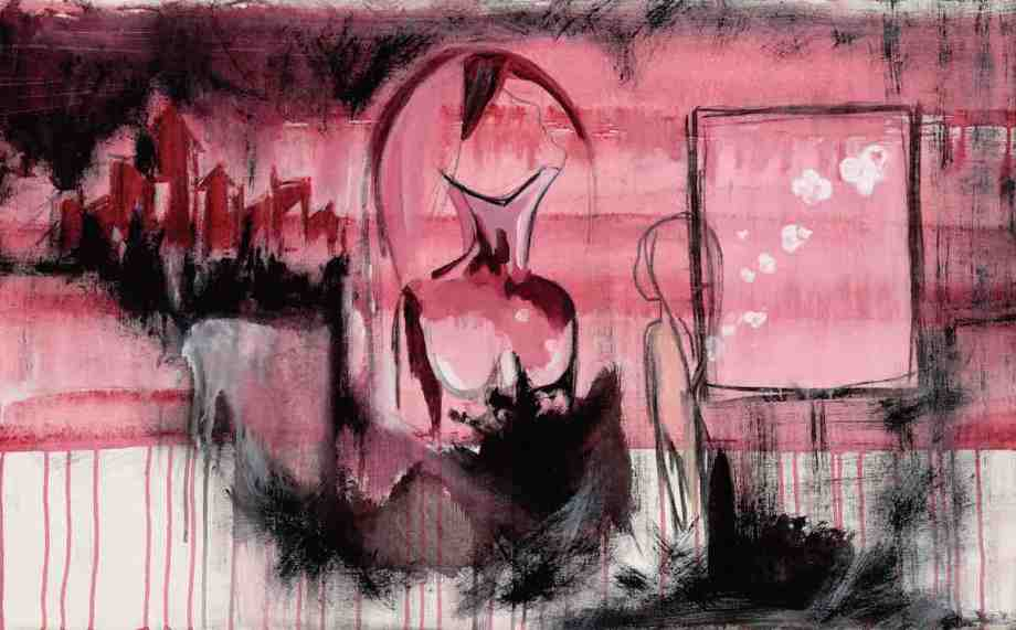 """Title Rising Woman Medium Acrylic and Charcoal Size 24"""" x 42"""""""