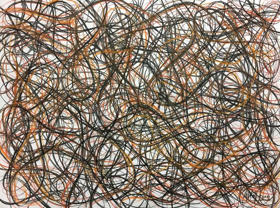 "Title Figure-Eight Study #56 Medium charcoal pastel Size 30"" x 42"""