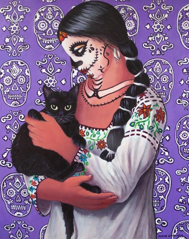 """Title Dia de Los Muertos El Gallo Medium Acrylic on Wood panel Size 24"""" x 30"""""""