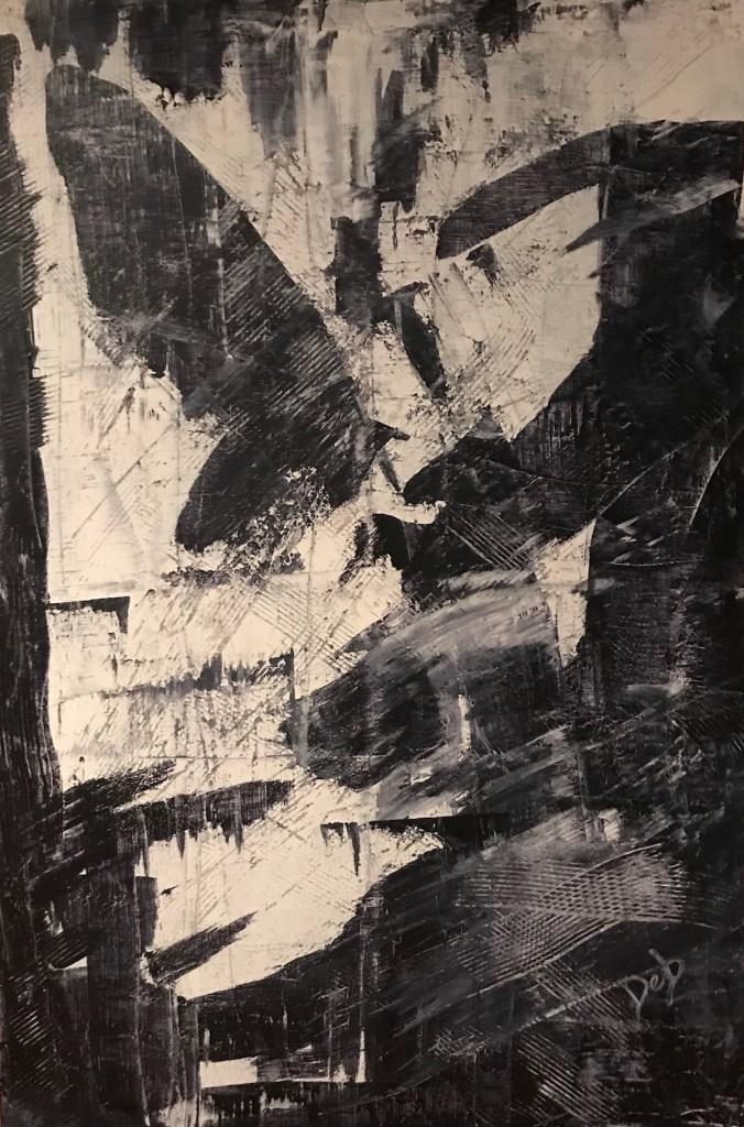 """Title Black & White #5 Medium Acrylic Size 36"""" x 24"""""""