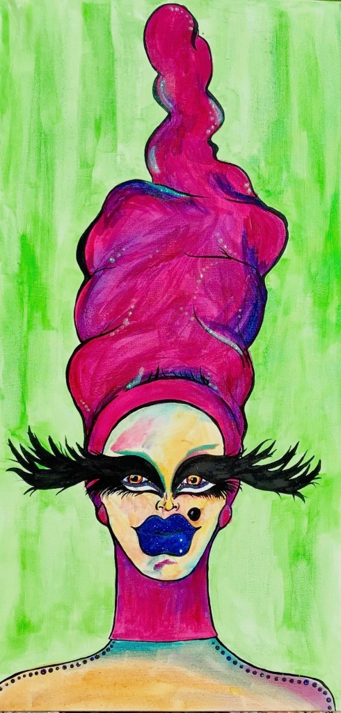 Title Glitter, Fur, Drag (Costumes) Medium Acrylic Ink, Acrylic Paint, Glitter, Flocking Powder, Gold Leaf Size 32 in. X 42 in.