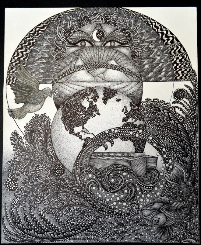 """Title HOPE Medium pen and ink Size 14""""x17"""""""